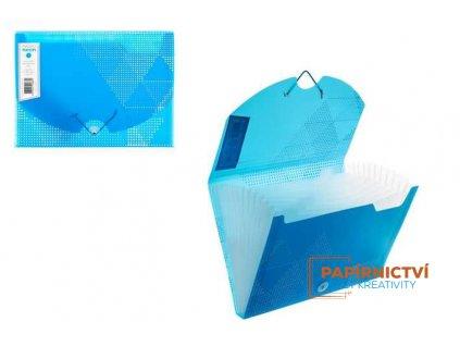Box na dokumenty 12 rozdělovačů NEON,A4,PP,modrý