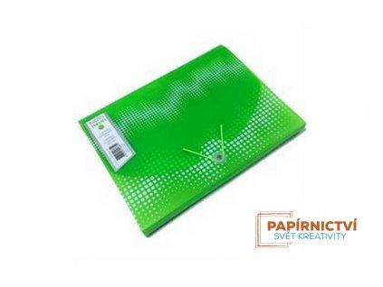 Box na dokumenty 12 rozdělovačů NEON,A4,PP,zelený