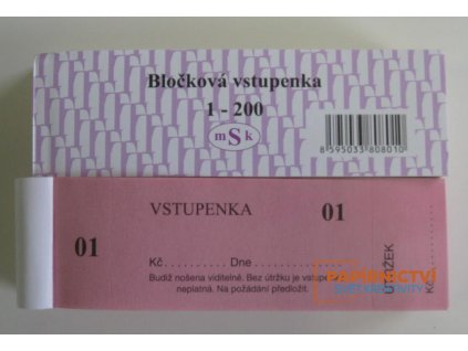 Vstupenka - blok 200 lístků - číslované/801
