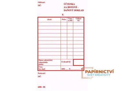 Účtenka za hotové - daňový doklad NCR/65