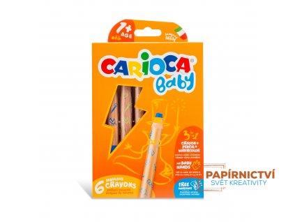 Pastelky CARIOCA Wooden 3v1 6ks+ořezávátko