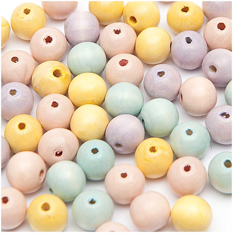 Dřevěné korálky mix pastel / 14mm