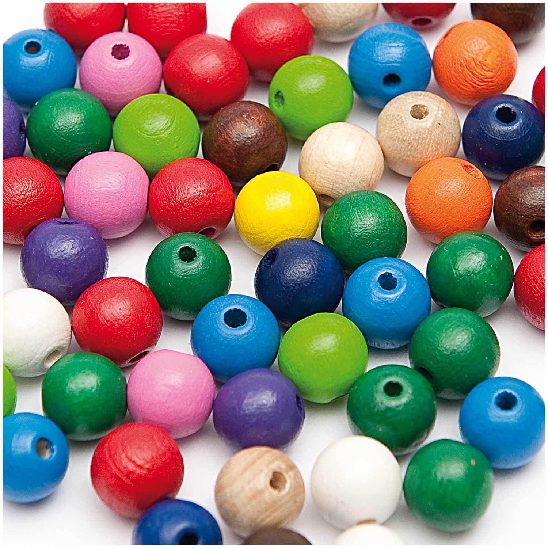 Dřevěné korálky mix barev / 14mm