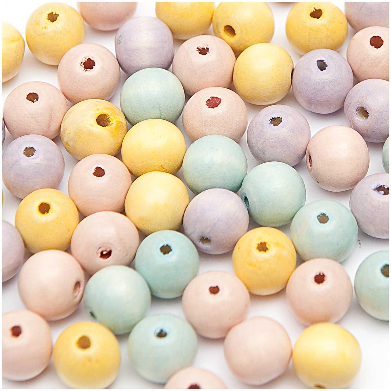 Dřevěné korálky mix pastel /10mm