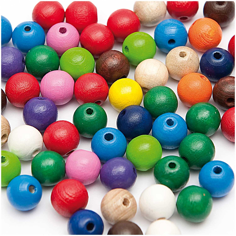 Dřevěné korálky mix barev / 10mm