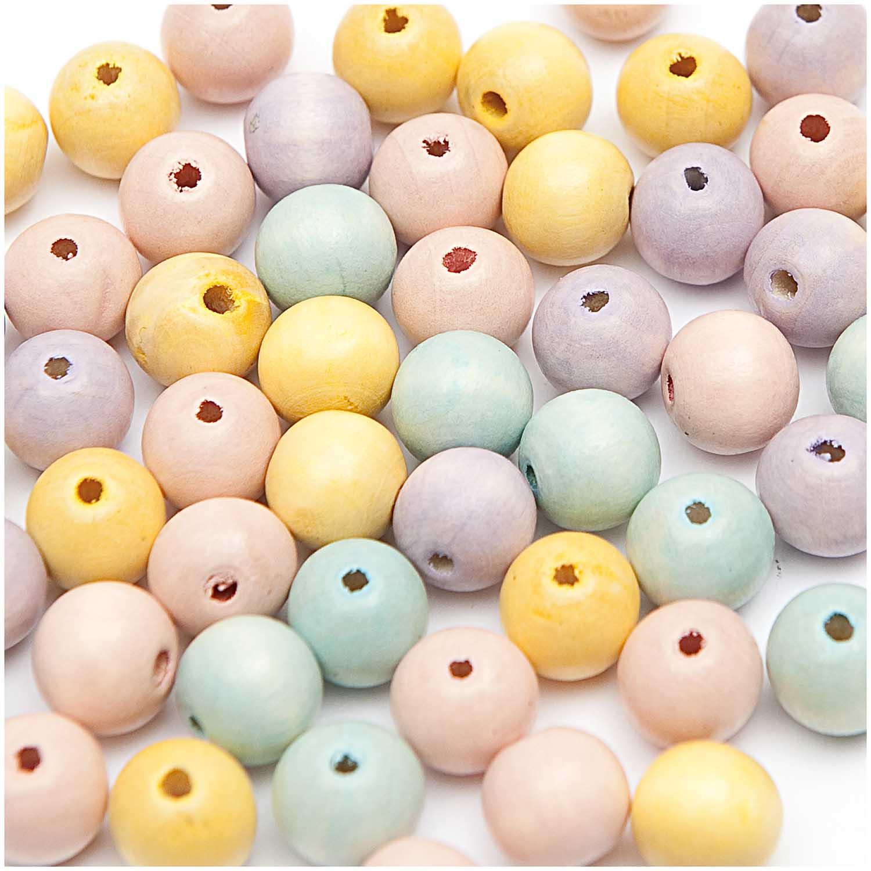 Dřevěné korálky mix pastel / 8mm