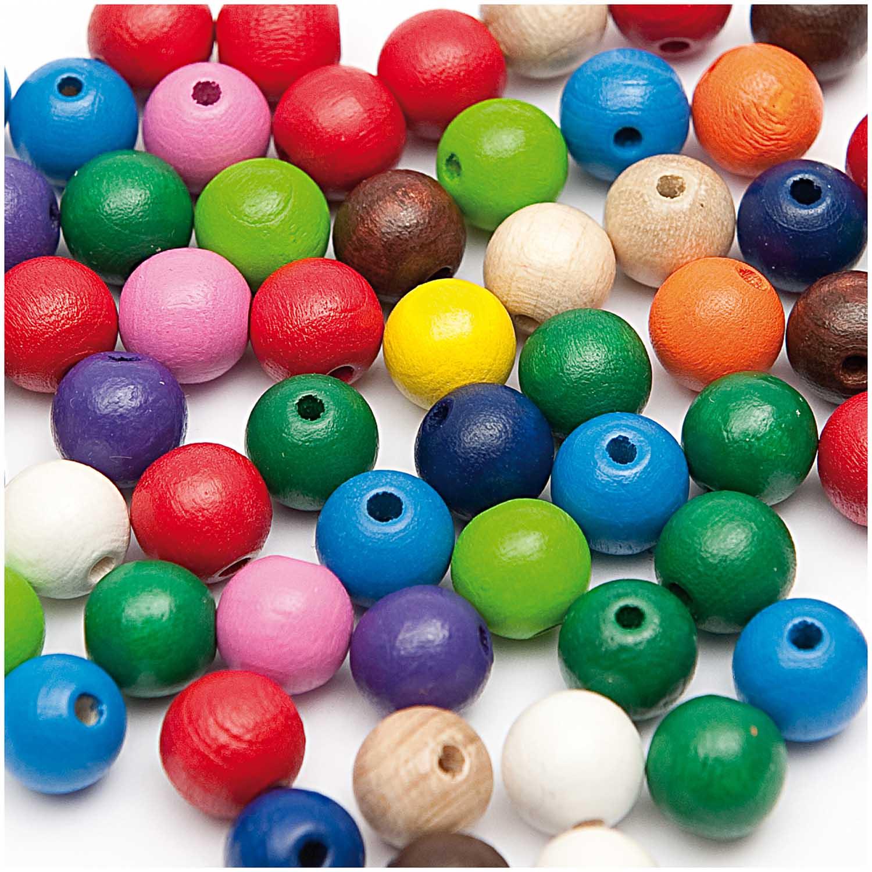 Dřevěné korálky mix barev / 8mm