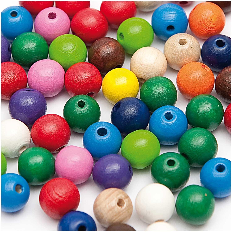 Dřevěné korálky mix barev, 125ks/6mm