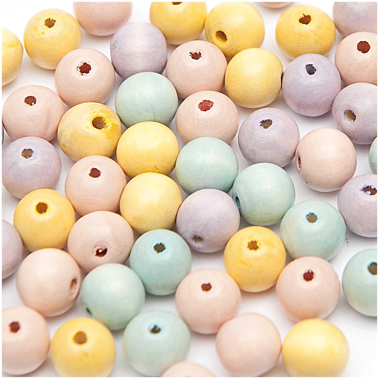 Dřevěné korálky mix pastel, 125ks/6mm