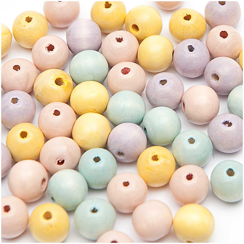 Dřevěné korálky mix pastel,40ks/12mm