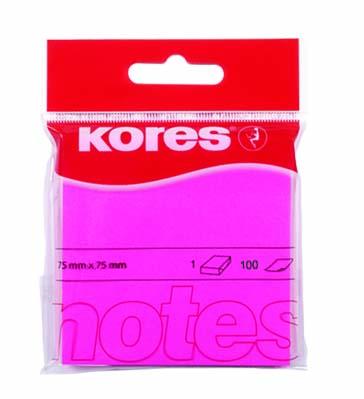 Samolepicí bločky Neon 75x75mm růžové