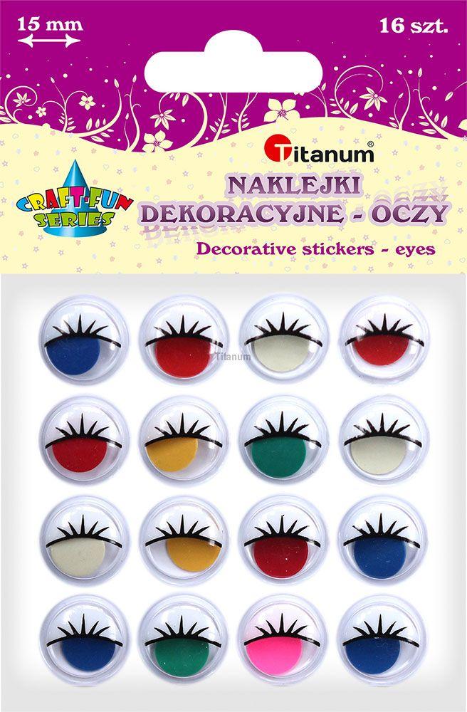 Dekorační oči barevné, samolepící, sada, 15mm, 16ks