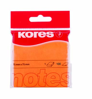 Samolepicí bločky Neon 75x75mm oranžové