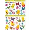 Okenní fólie kuřátka, květiny a motýlci 30x42 cm