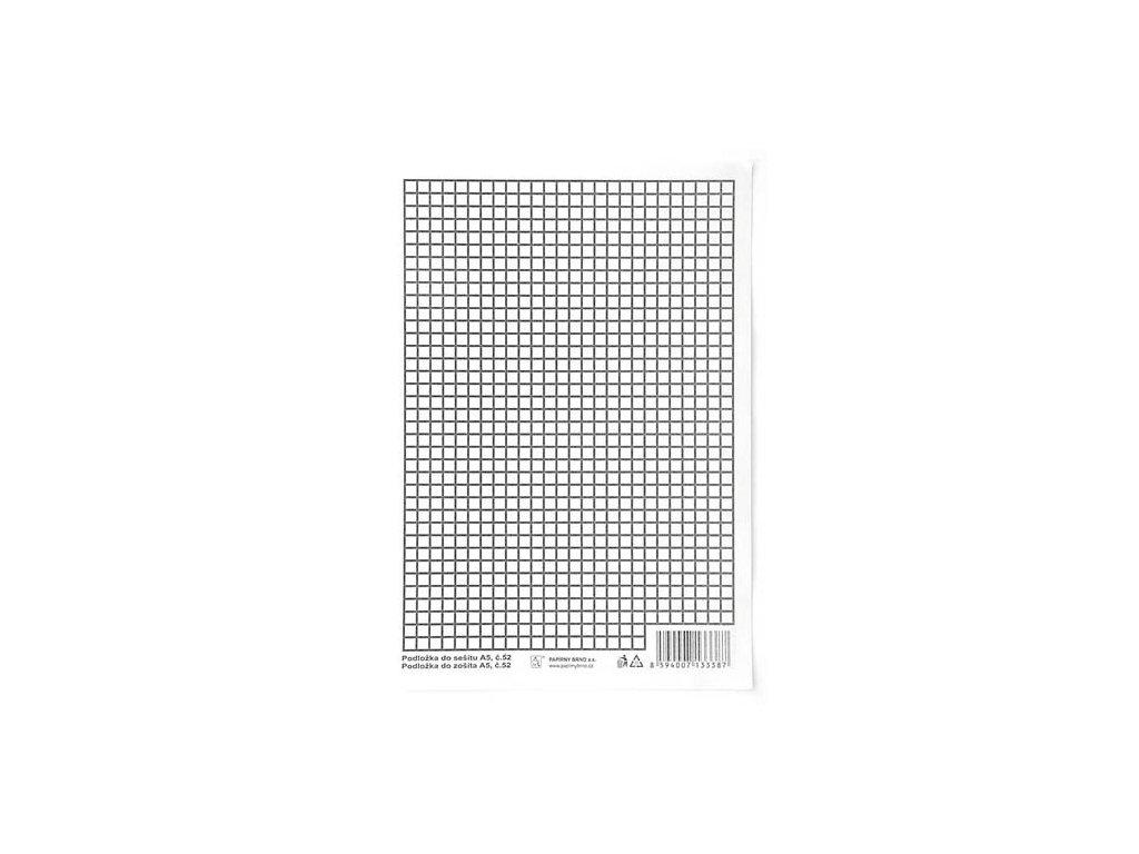 Podložky do sešitů papírové + PVC - podložka A5 / linka - čtvereček / papírová
