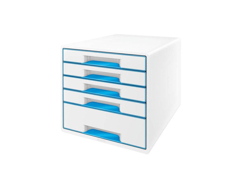 Zásuvkový box Leitz WOW - modrá / 4+1 zásuvky