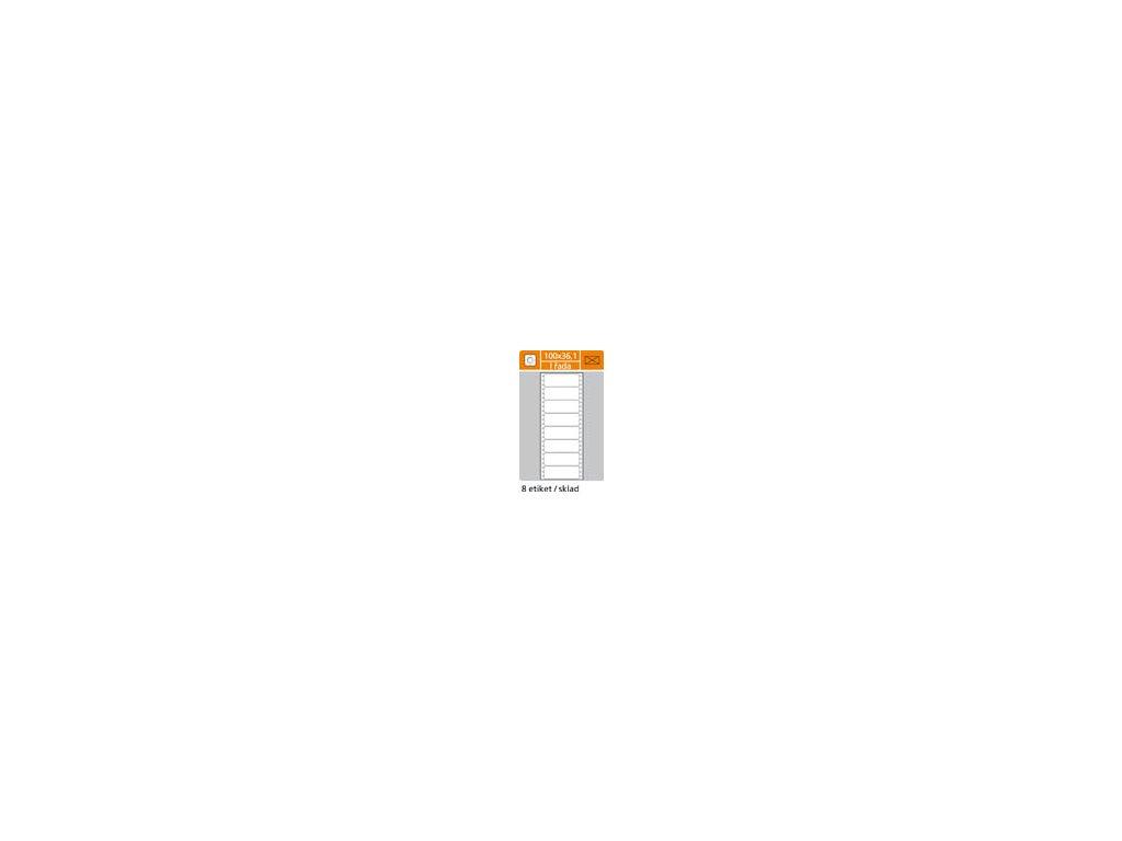 Tabelační etikety s vodící drážkou jednořadé a dvouřadé - 100 x 36,1 mm jednořadé 200 etiket / 25 skladů