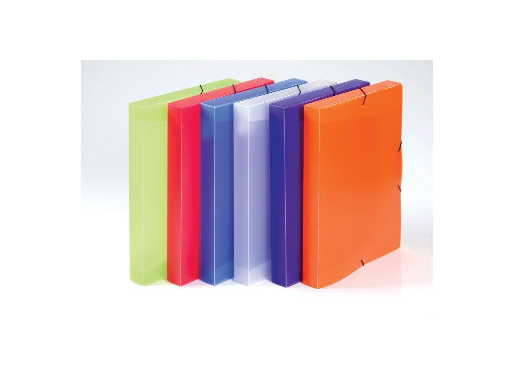 Box na spisy A4 s gumou průsvitný Opaline - hřbet 3 cm / zelená