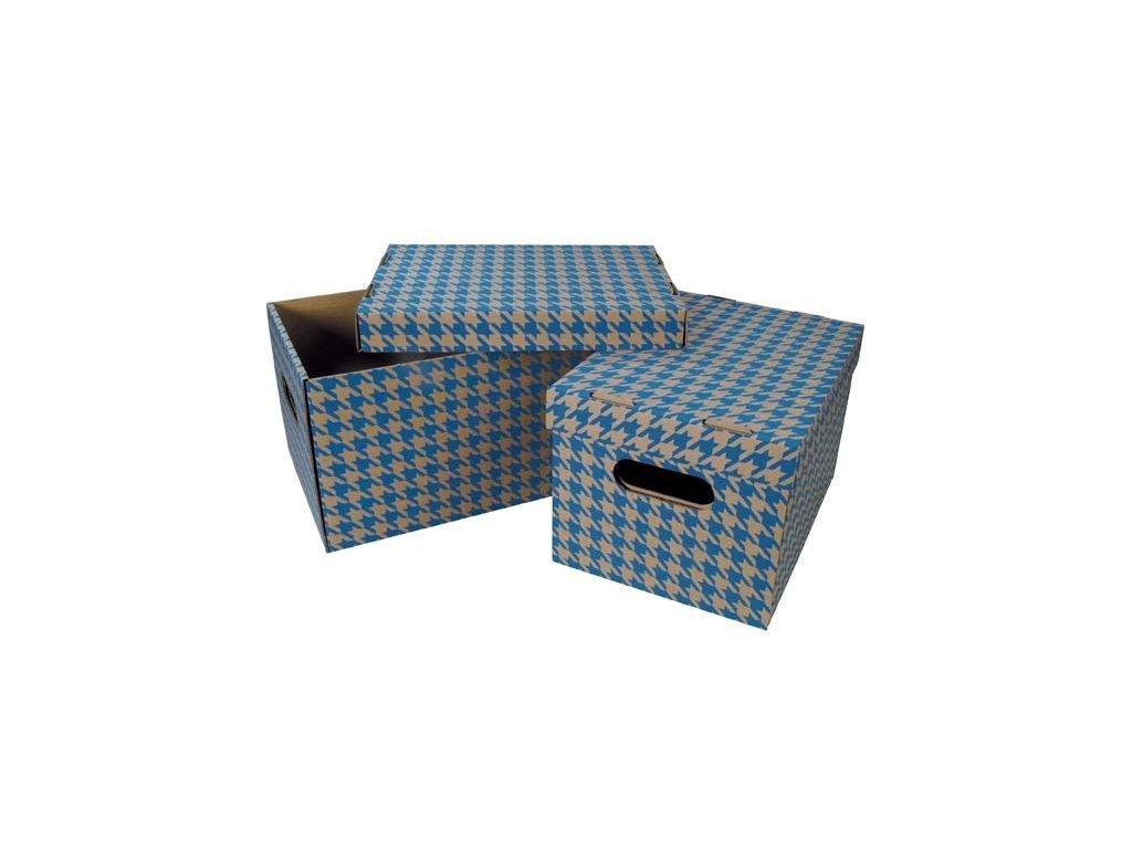 Krabice úložná s víkem - modrá / A4 / 30 x 22,5 x 20 cm