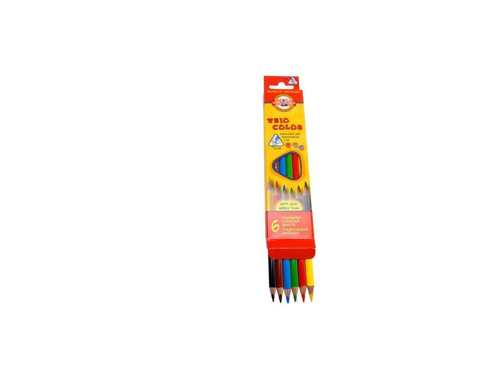 Pastelky Triocolor - 6 barev / lakované / slabé