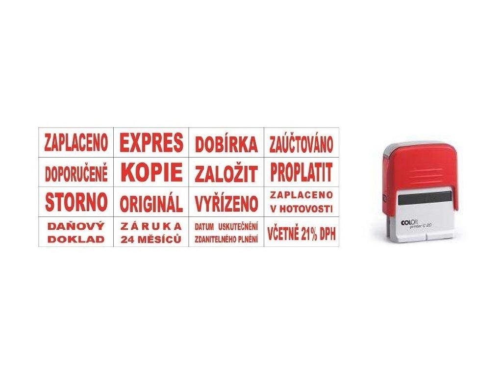 Razítka Colop Printer 20/L s textem - zaplaceno v hotovosti