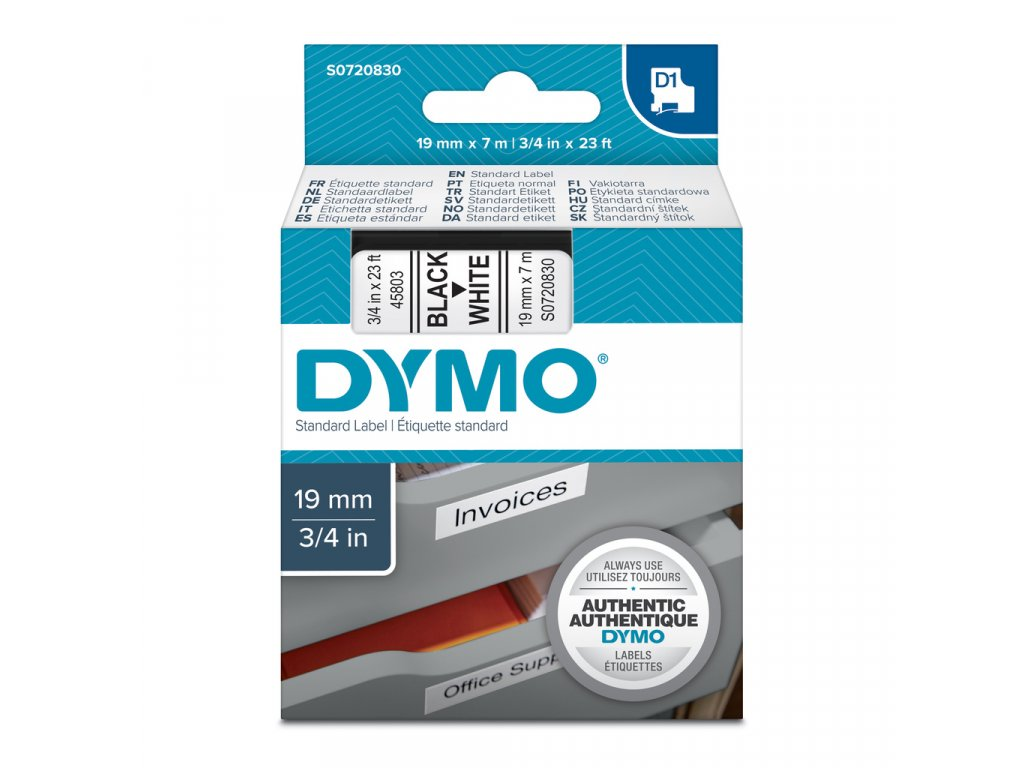 Pásky D1 standardní - 19 mm x 7 m / černý tisk / bílá páska
