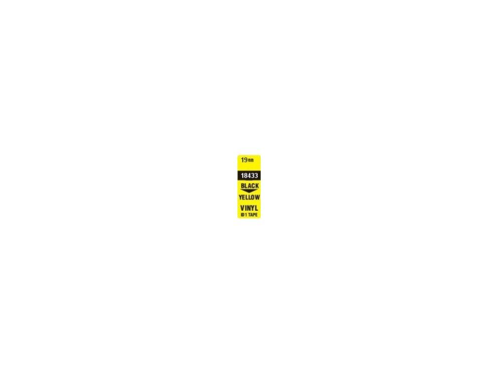 Pásky D1 vinylové permanentní - 19 mm x 5,5 m / černý tisk / žlutá páska