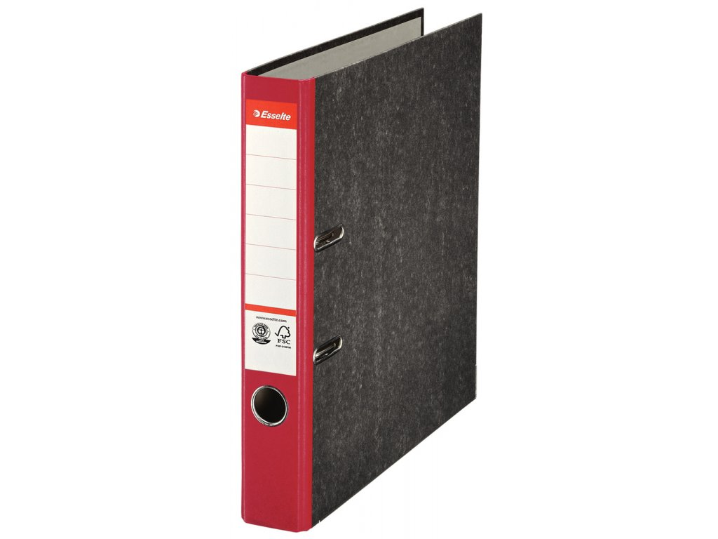 Pořadač A4 pákový papírový s barevným hřbetem - hřbet 5 cm / červená