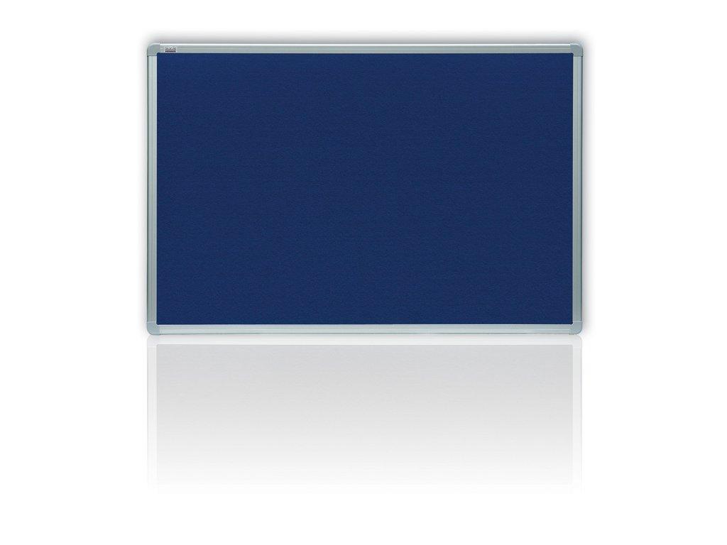 Tabule filcová v hliníkovém rámu - 100 x 150 cm / modrá