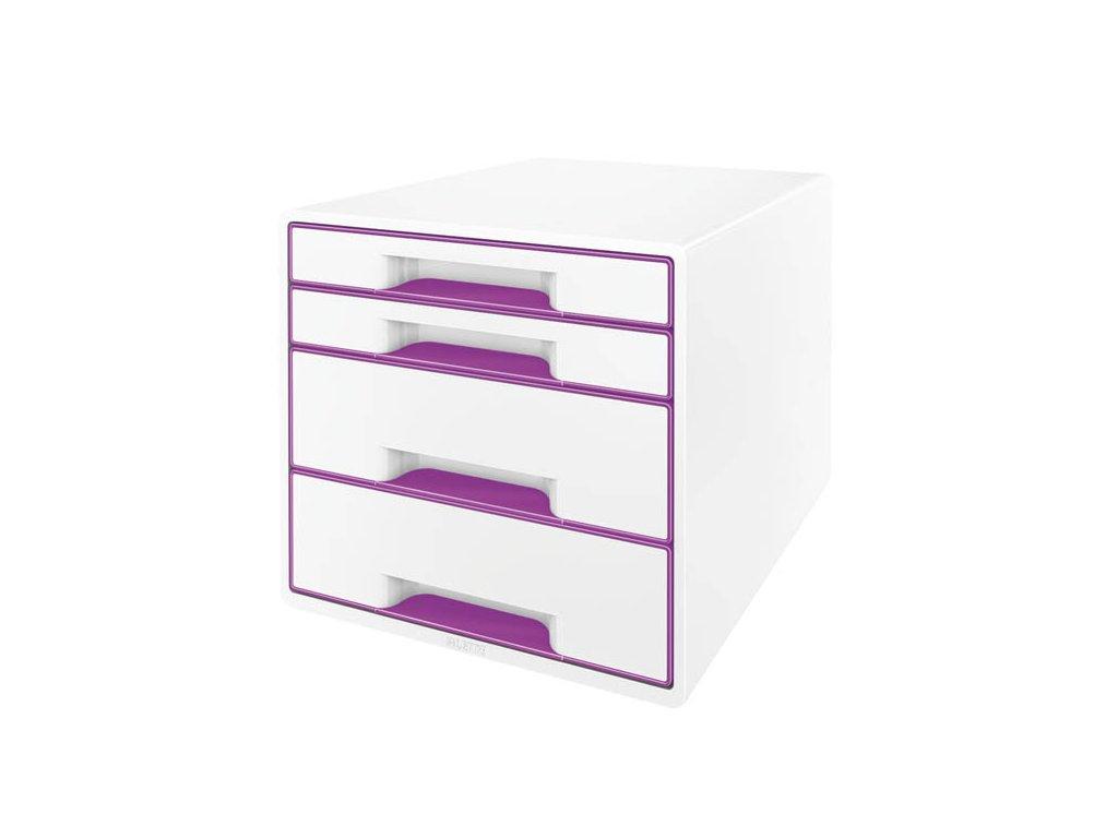 Zásuvkový box Leitz WOW - fialová / 2+2 zásuvky