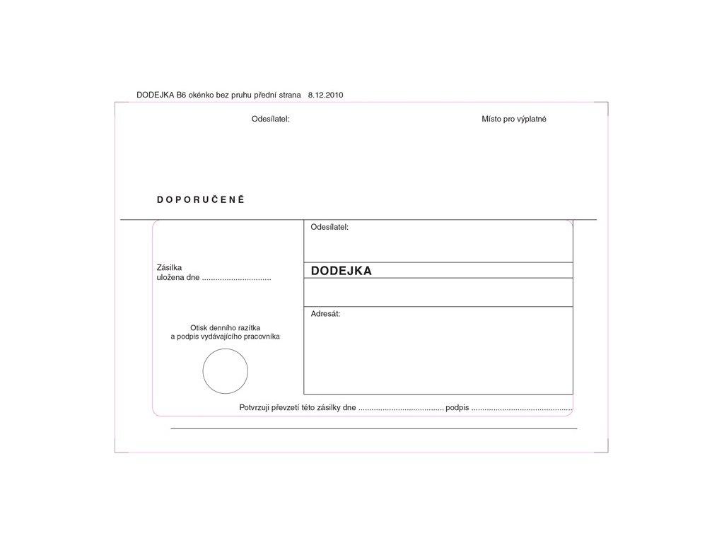 Obálky B6 s dodejkou - bílá / 1000 ks