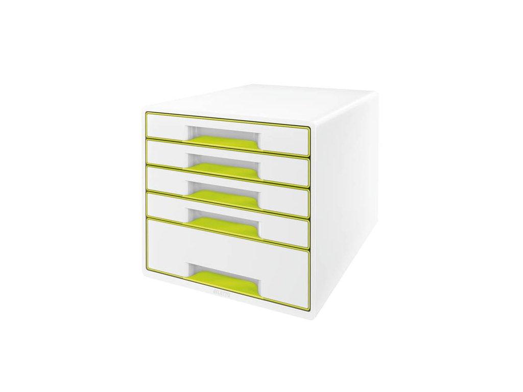 Zásuvkový box Leitz WOW - zelená / 4+1 zásuvky