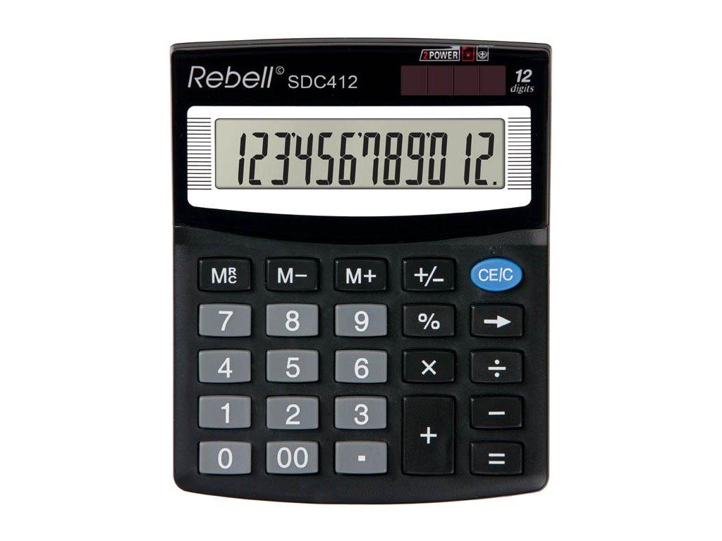 Kalkulačka Rebell SDC - displej 12 míst / 412+ černá