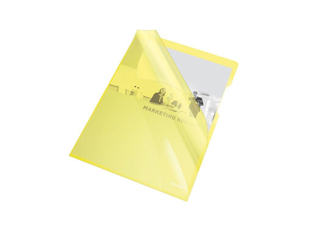 Zakládací obal A4 silný barevný - tvar L / žlutá 25 ks