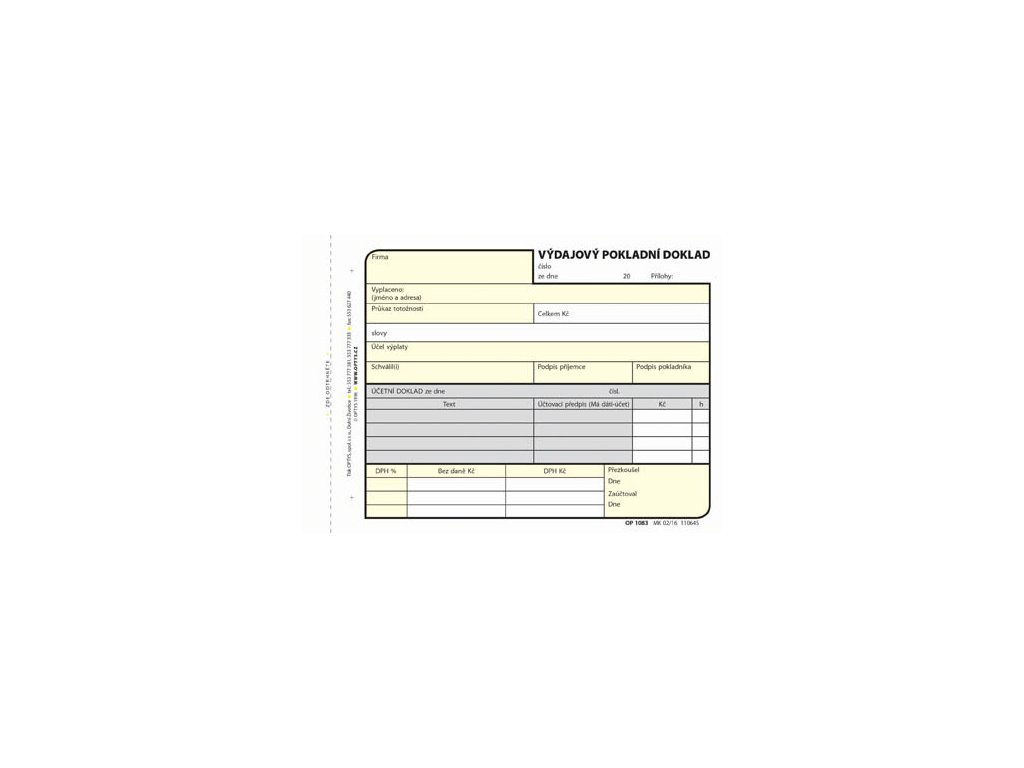 Výdajový pokladní doklad Optys - A6 / 100 listů NCR / 1083