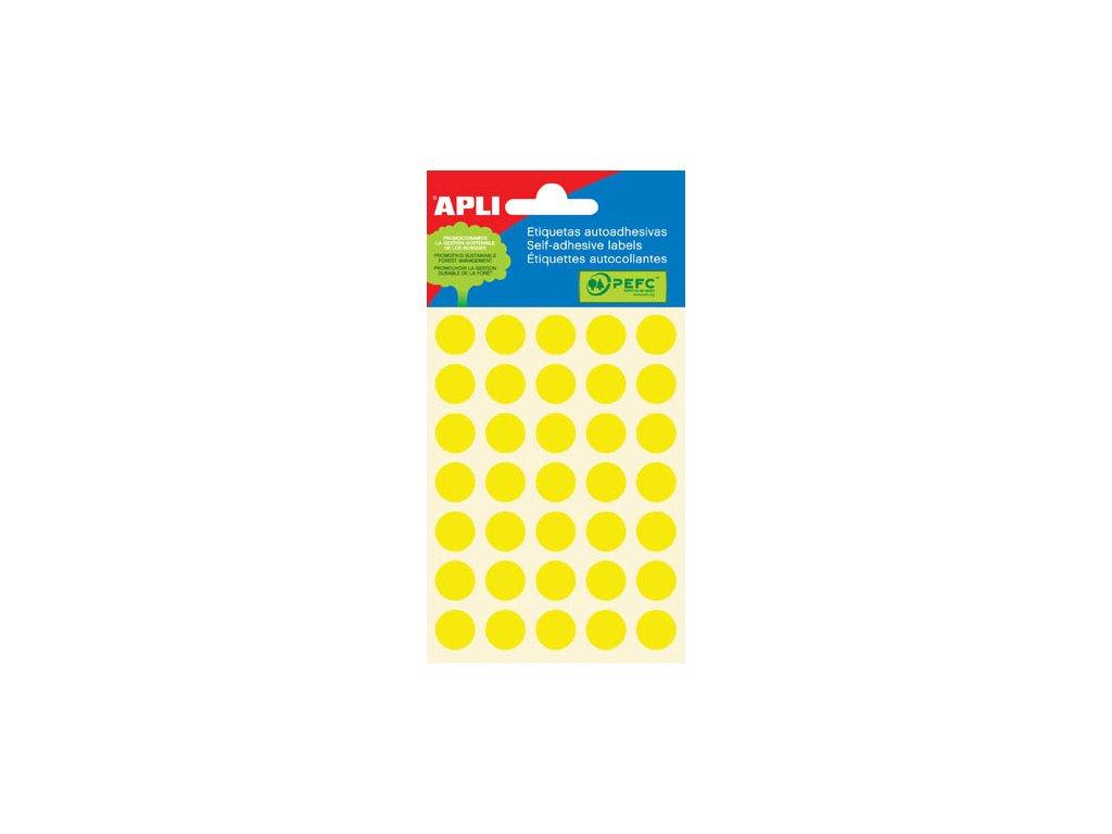 Samolepicí kolečka APLI barevná - ? 13 mm / 175 etiket / žlutá