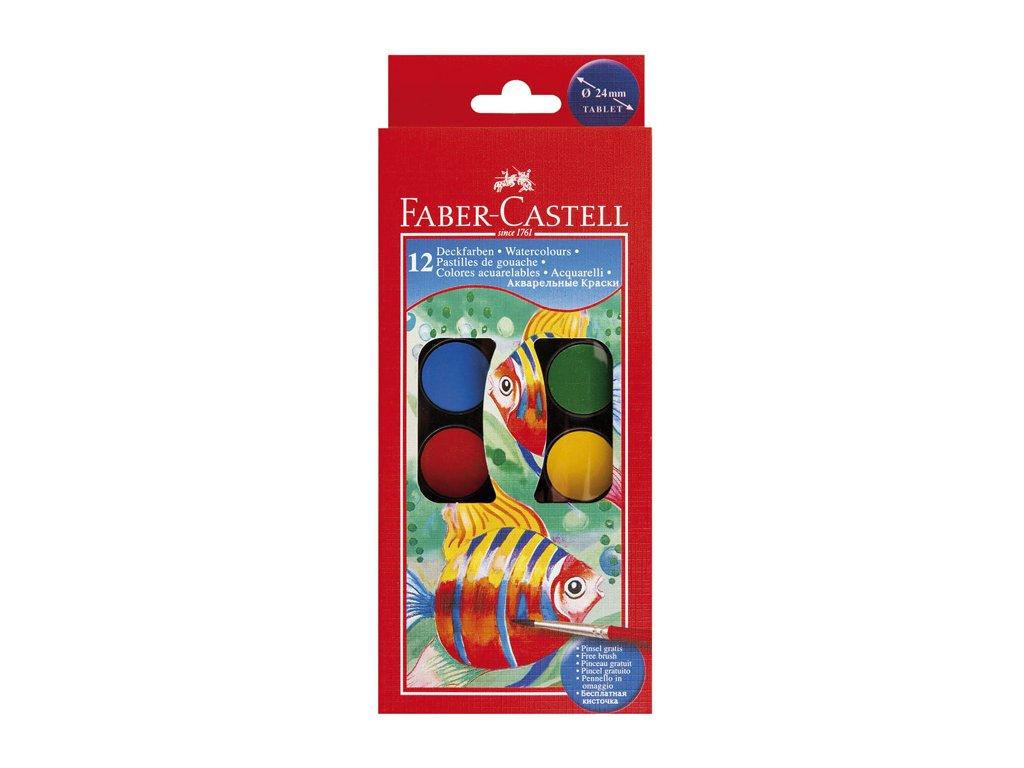 Vodové barvy Faber Castell - 12 barev / průměr 24 mm