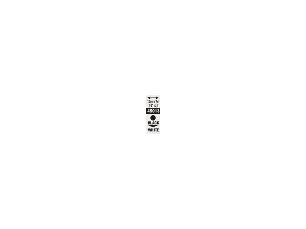 Pásky D1 standardní - 12 mm x 7 m / černý tisk / bílá páska