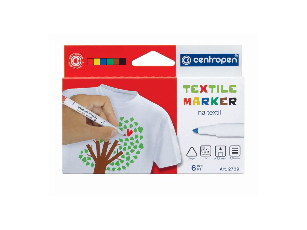 Značkovač Centropen 2739 na textil - sada 6 ks
