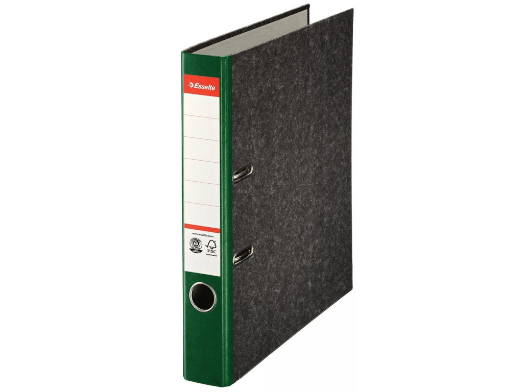 Pořadač A4 pákový papírový s barevným hřbetem - hřbet 5 cm / zelená