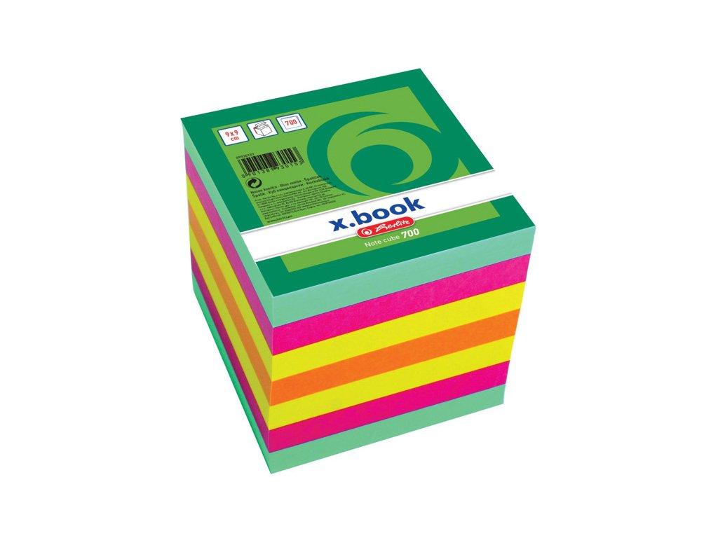 Záznamní kostky barevné Herlitz - 9 cm x 9 cm x 9 cm / 700 lístků / lepená vazba