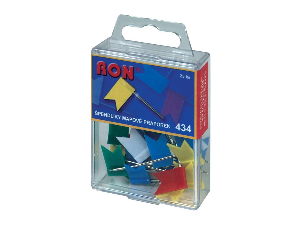 Špendlíky mapové RON - vlaječky / 25 ks / barevný mix