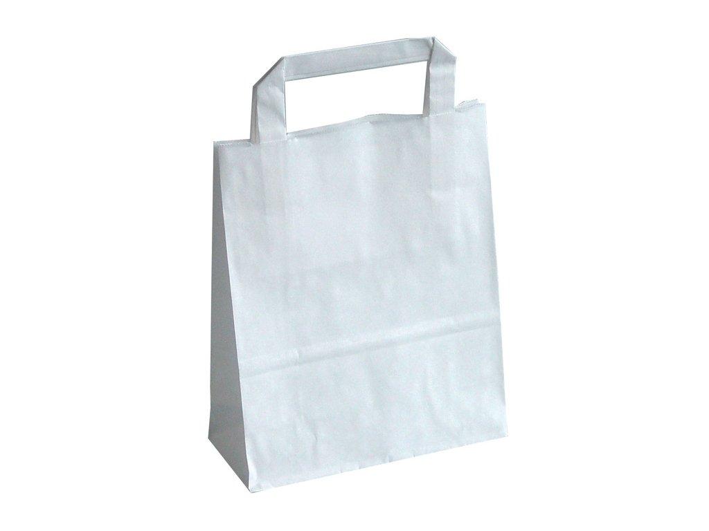 Tašky papírové plochá ucha - bílá / 180 x 80 x 250 mm