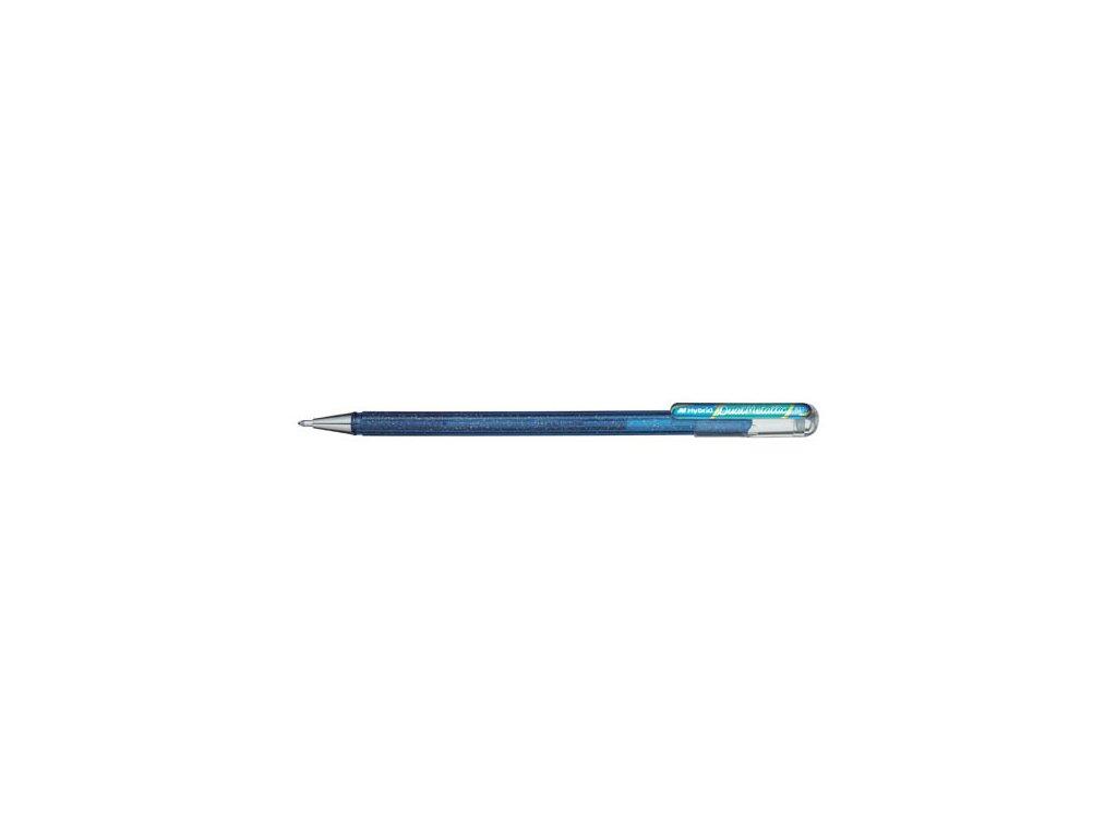 Gelové pero Pentel K 110 metalické dvoubarevné - modrá / metalická zelená