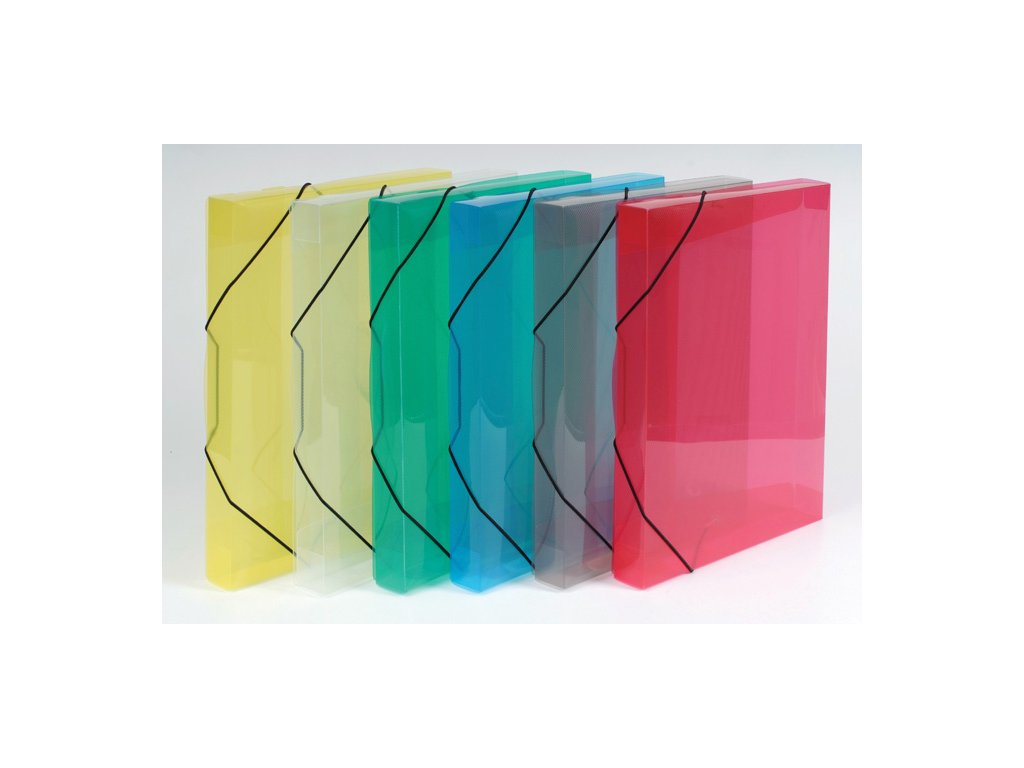 Box na spisy A4 s gumou průsvitný - hřbet 3 cm / zelená