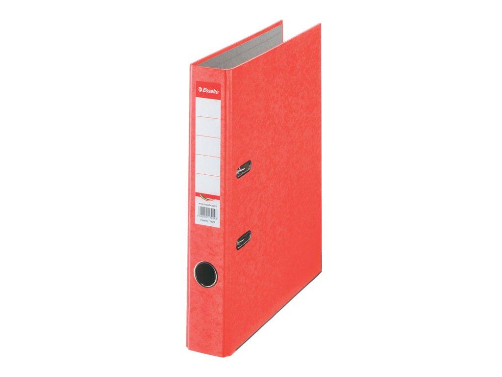Pořadač A4 pákový kartonový Rainbow - hřbet 5 cm / červená