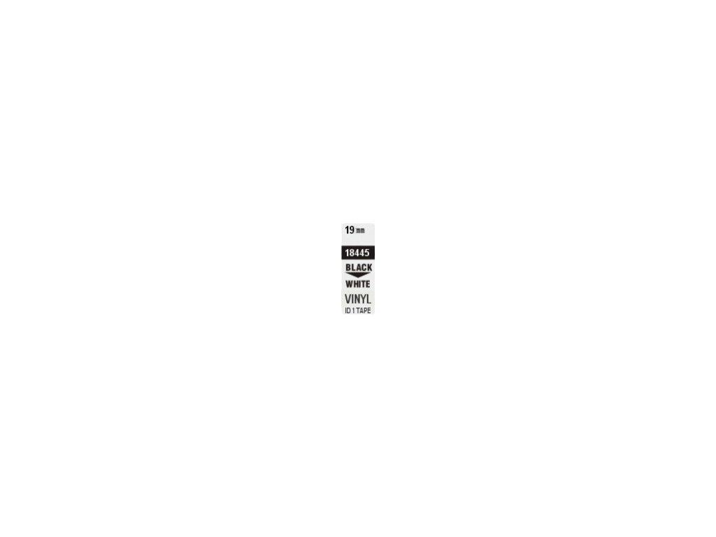 Pásky D1 vinylové permanentní - 19 mm x 5,5 m / černý tisk / bílá páska
