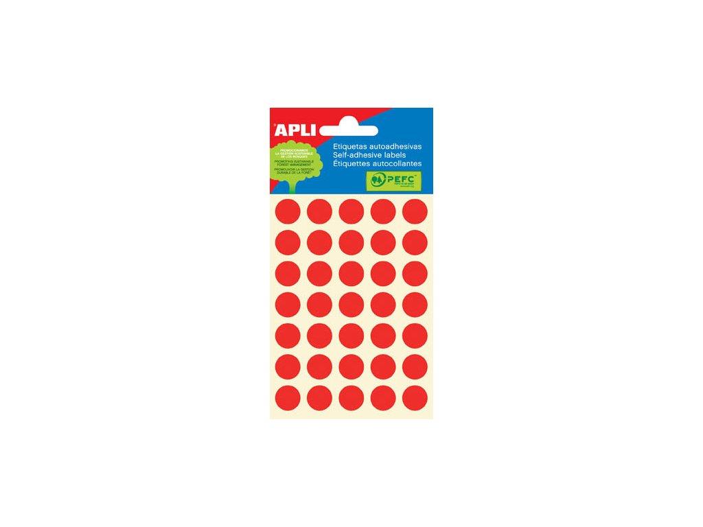 Samolepicí kolečka APLI barevná - ? 13 mm / 175 etiket / červená