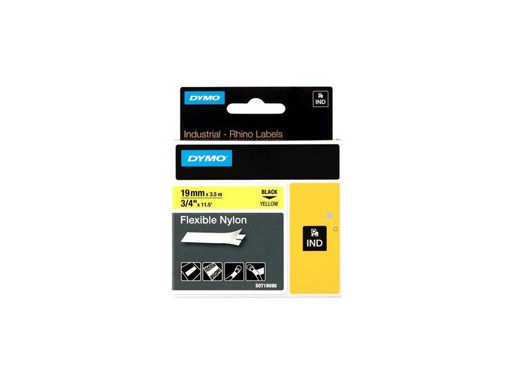 Pásky D1 nylonová flexibilní pro elektronické štítkovače DYMO - 19 mm x 3,5 m černý tisk / žlutá páska