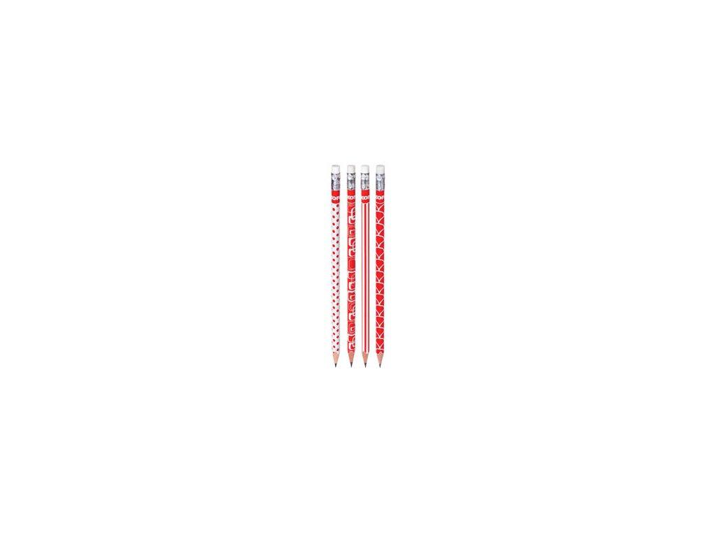 Trojhranná tužka Kores - červeno-bílá / HB